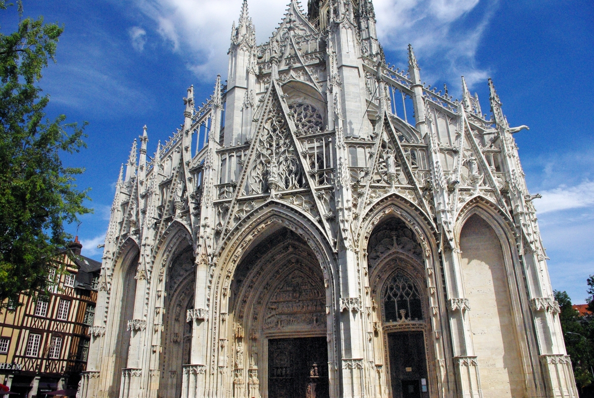 west front of saint maclou church in rouen copyright. Black Bedroom Furniture Sets. Home Design Ideas