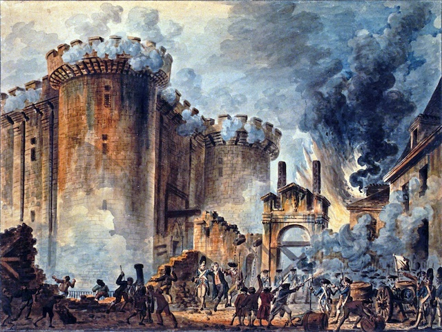 """""""The Storming of the Bastille"""" a watercolor painting by Jean-Pierre Houël"""