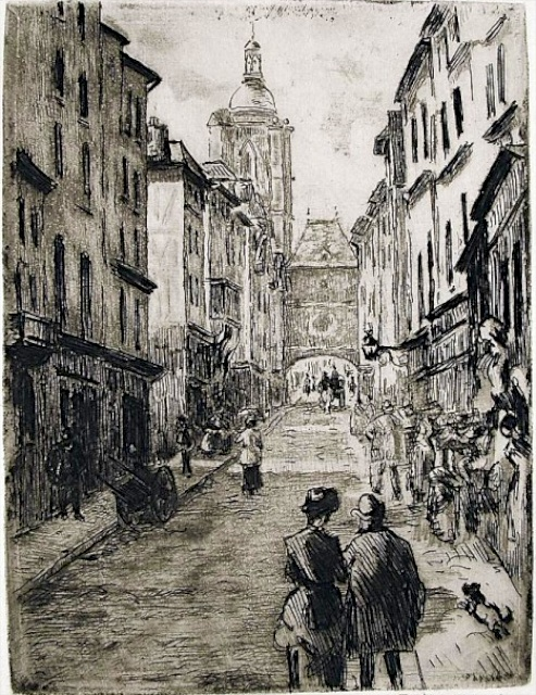 Drawing by Camille Pissarro depicting Rue du Gros-Horloge, Rouen