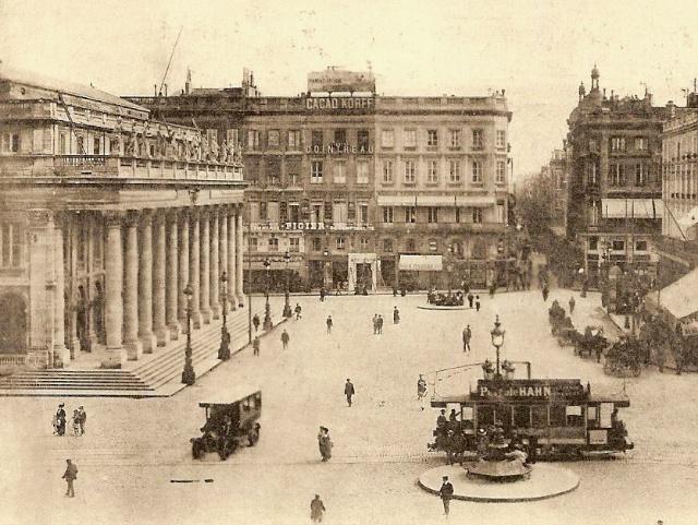 Grand Theatre and Bordeaux's tramway circa 1900