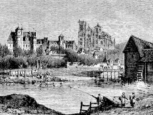 Engraving of Bourges and the St