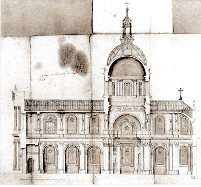 Mansart's proposed plans for the cathedral of Nancy (early 18th C)