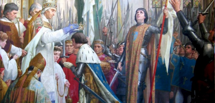 Coronation of Charles VII in Reims in the presence of Joan of Arc