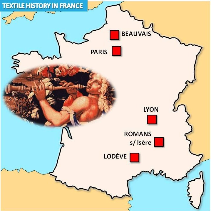 Map of Textile History sites in France © French Moments