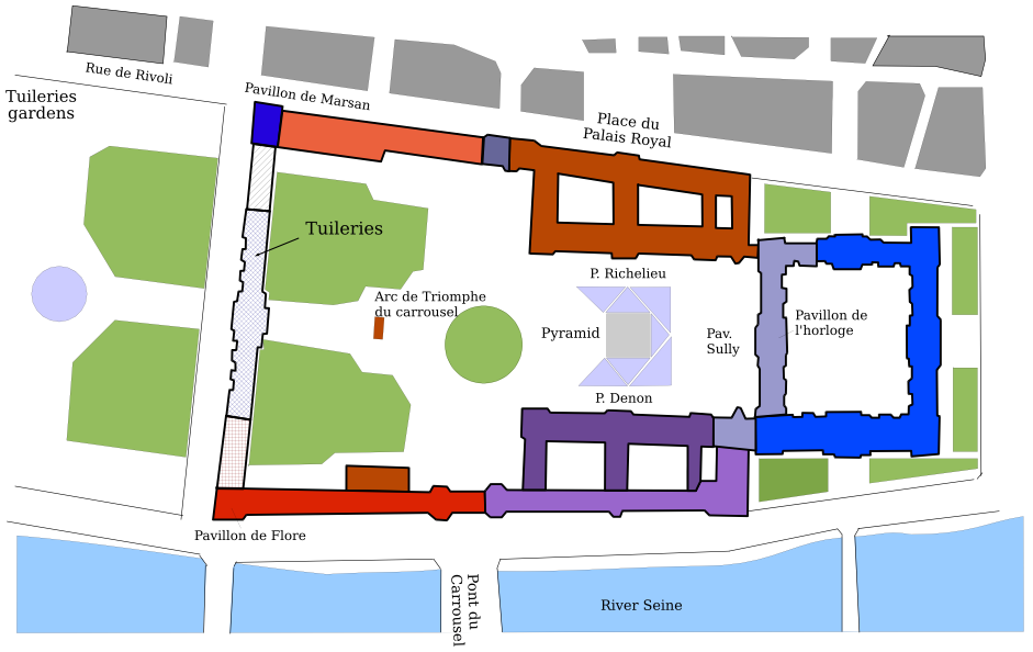 Map of Louvre and Tuileries © - licence [CC BY-SA 3.0] from Wikimedia Commons