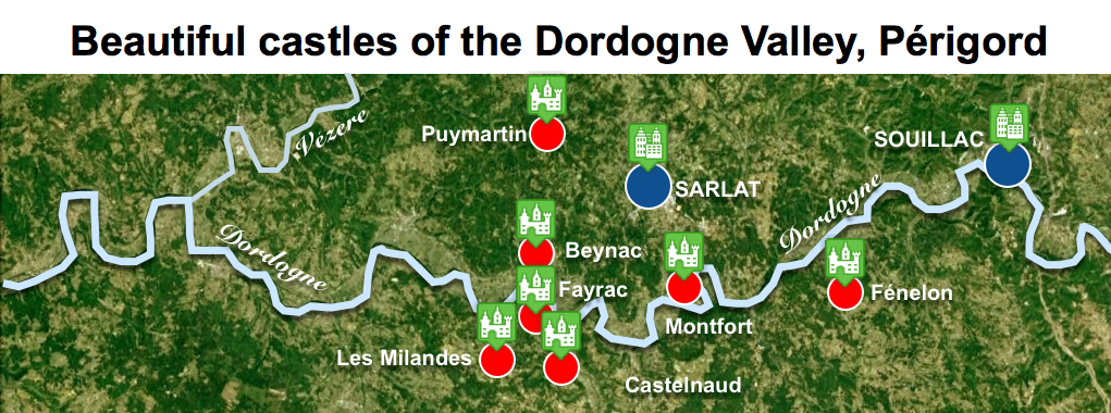 Maps of Dordogne Valley Périgord Noir - Beautiful Castles