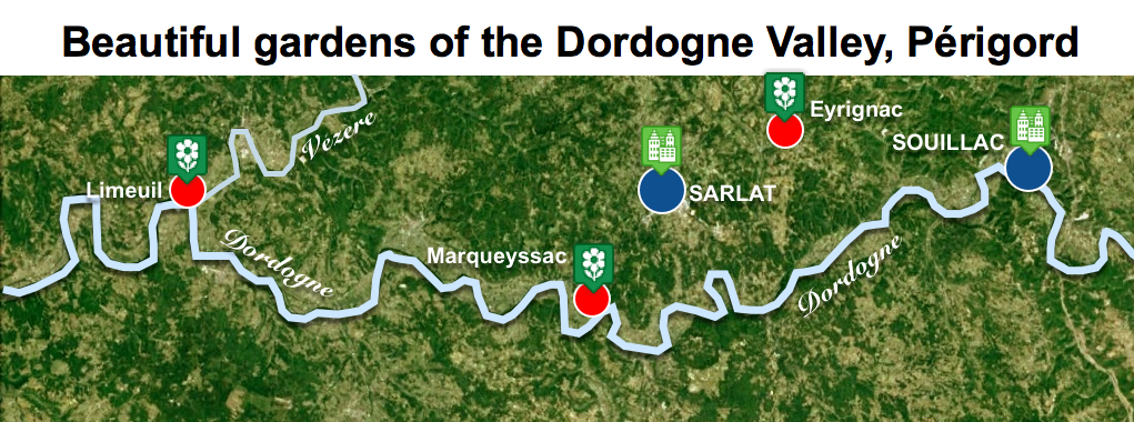 Maps of Dordogne Valley Périgord Noir - Beautiful Gardens