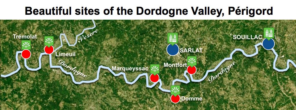 Maps of Dordogne Valley Périgord Noir - Beautiful Sites