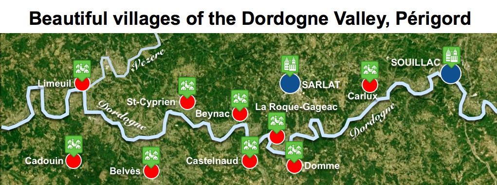 Maps of Dordogne Valley Périgord Noir - Beautiful Villages