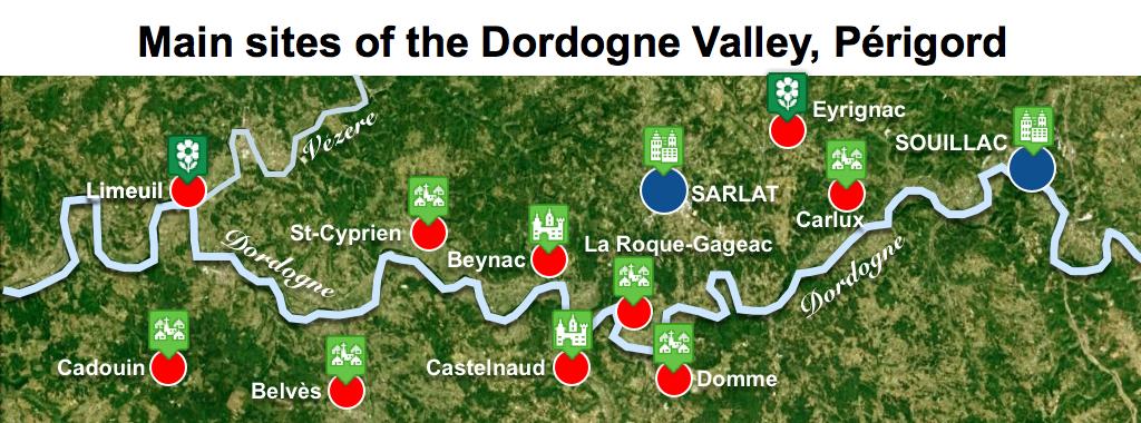 Maps of Dordogne Valley Périgord Noir - Main Sites