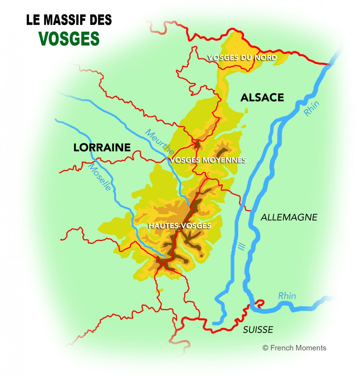 Map of the Vosges mountains © French Moments