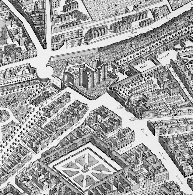 Map of Paris from 1739 with Place des Vosges and the Bastille