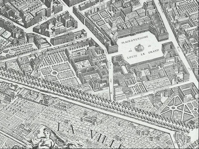 Old map of Paris showing Place Vendôme - French Moments