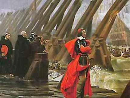 Richelieu inspecting the siege of La Rochelle