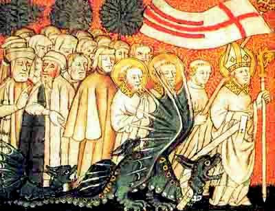 St-Clément, premier évêque de Metz, conduit le « Graouilly » sur les bords de la Seille
