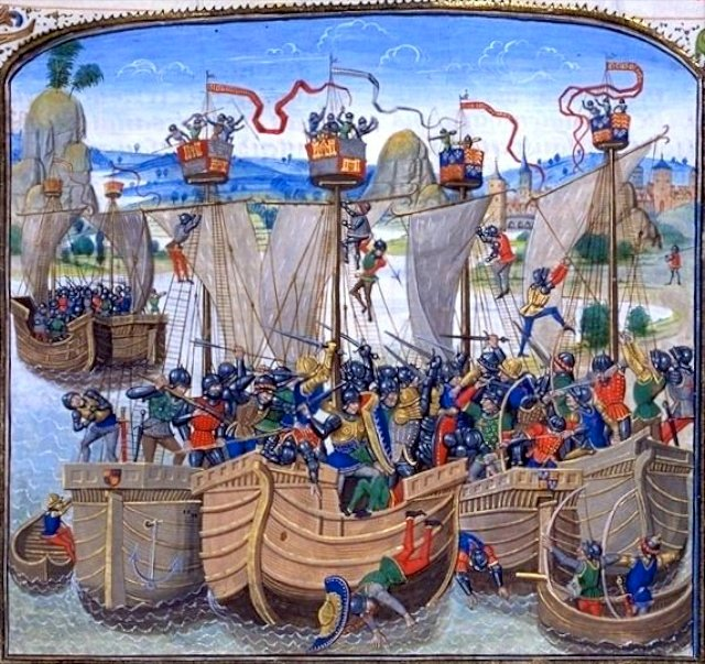 Battle of La Rochelle in 1372 depicted in 1419 by the Chronicle of Jean Froissart