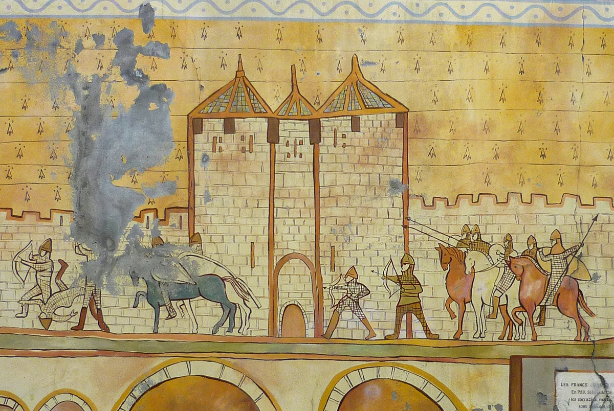 The Cité of Carcassonne in the Middle Ages (fresco in the town)