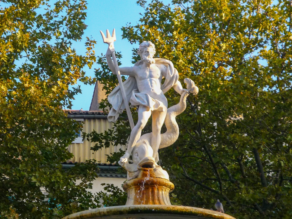 Cité of Carcassonne - Fountain of Neptune, Place Carnot © French Moments