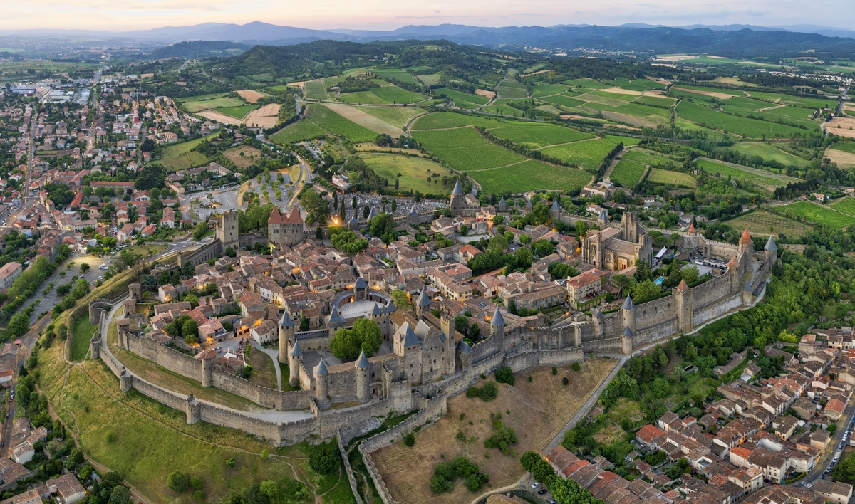 The Cité of Carcassonne from above © Chensiyuan - licence [CC BY-SA 4.0] from Wikimedia Commons