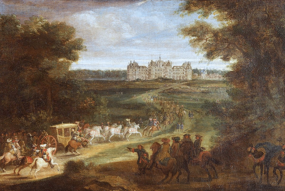 The Arrival of Louis XIV at Chambord circa 1670. Painting by Adam Frans van der Meulen