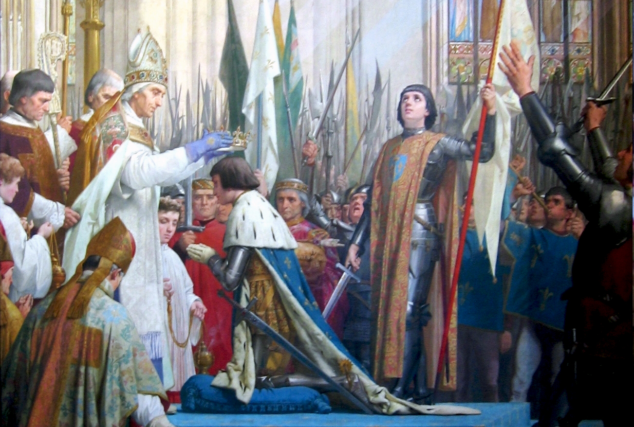 Coronation of Charles VII in the presence of Joan of Arc. Painting by by E. Lenepveu