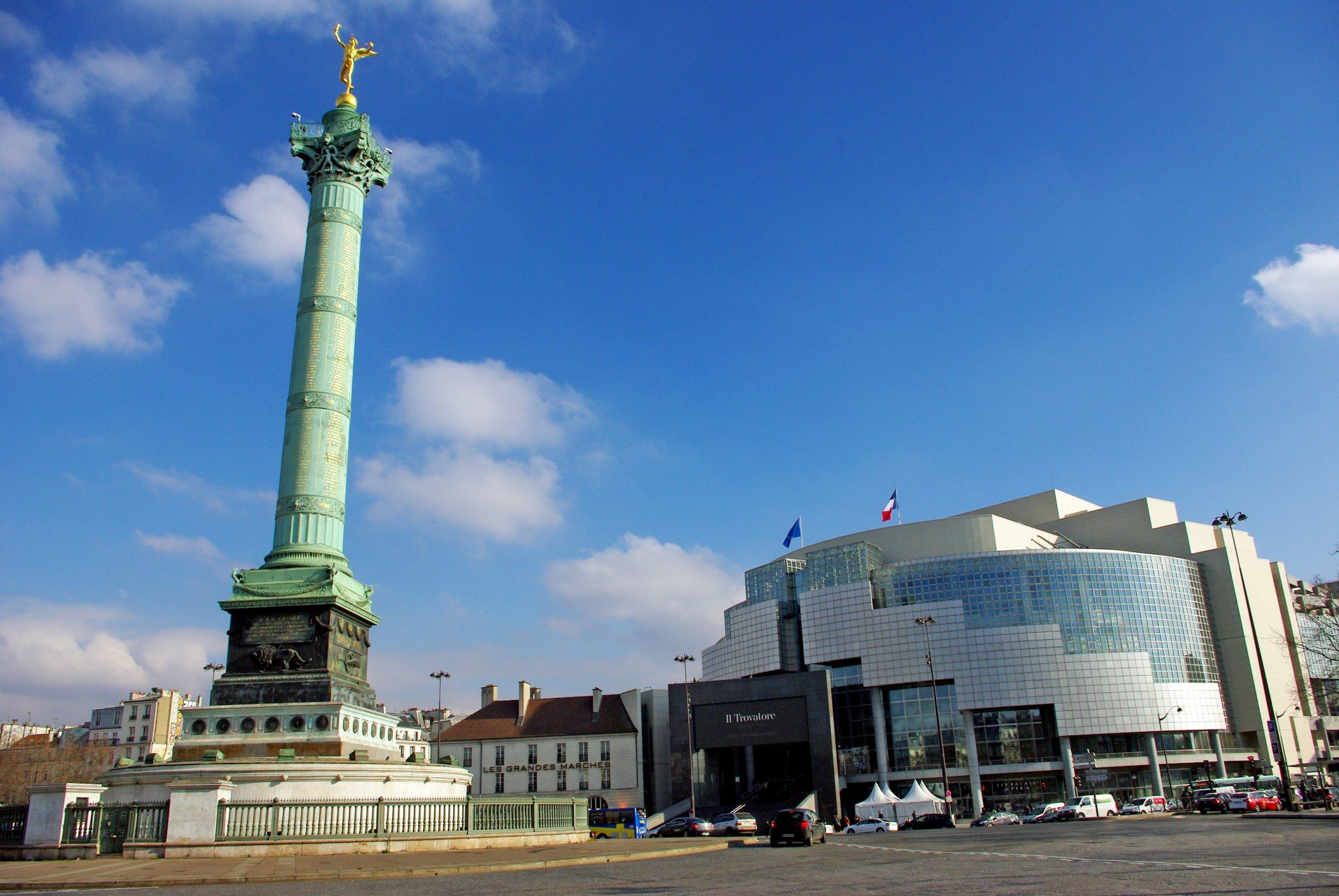The monuments of Place de la Bastille: the column and the opera house © French Moments