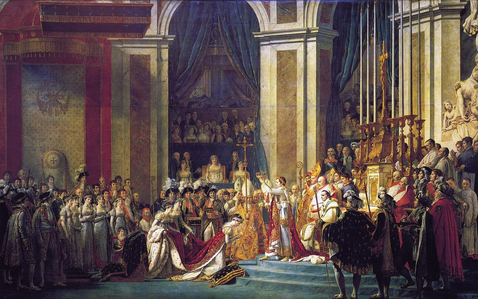 Coronation of Napoleon inside the cathedral. Painting by Jacques-Louis David