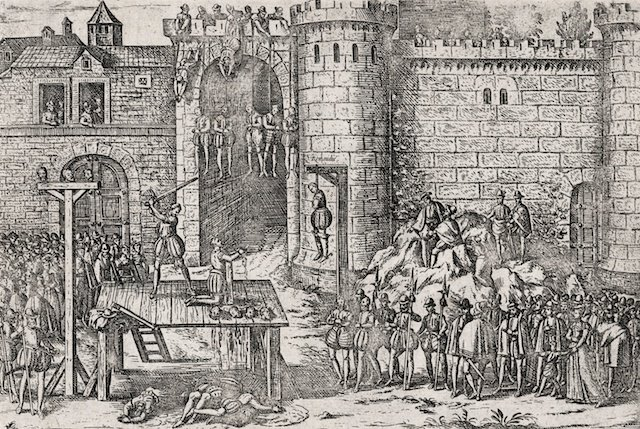Execution of the conspirators of Amboise, engraving by Tortorel and Perrissin