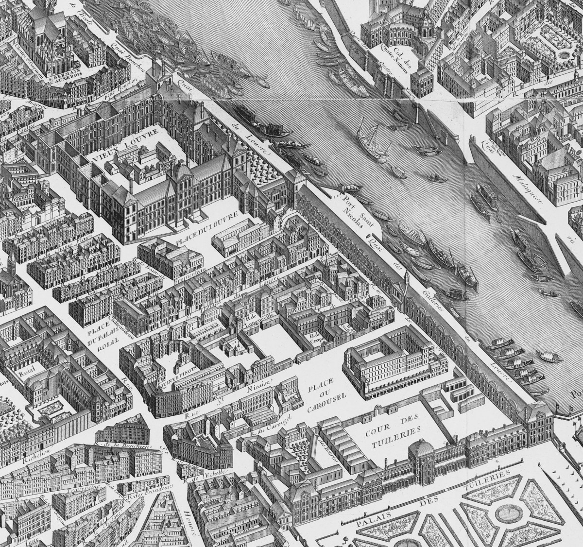 Map of Turgot 1739 of the Louvre-Tuileries
