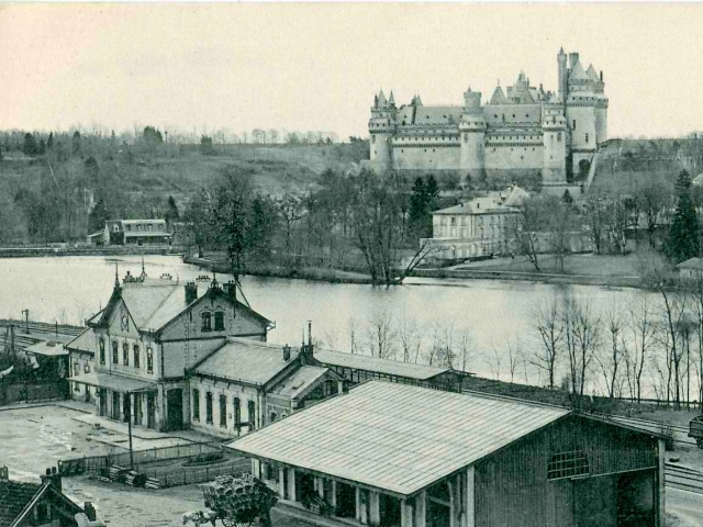 The Castle of Pierrefonds and the railway station circa 1910