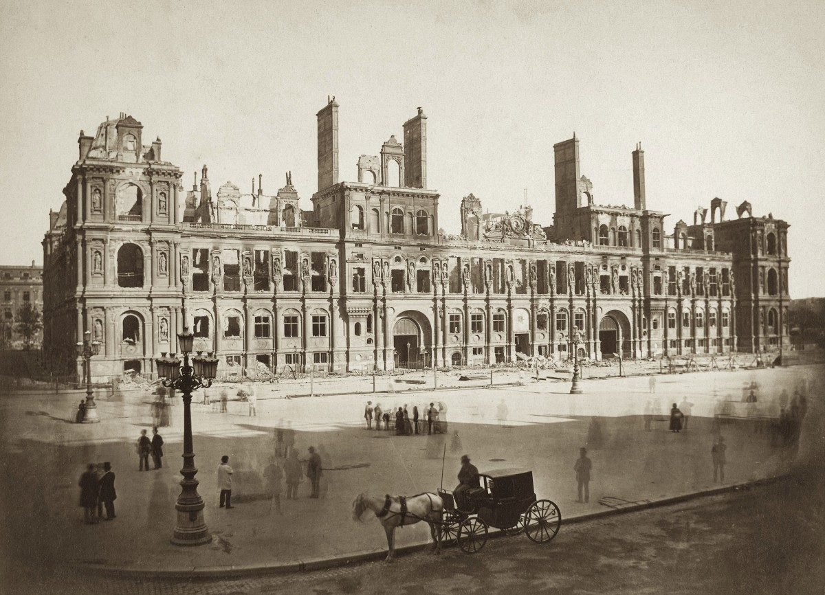 The Paris City-Hall in ruins after the Paris Commune set fire on the edifice in May 1871
