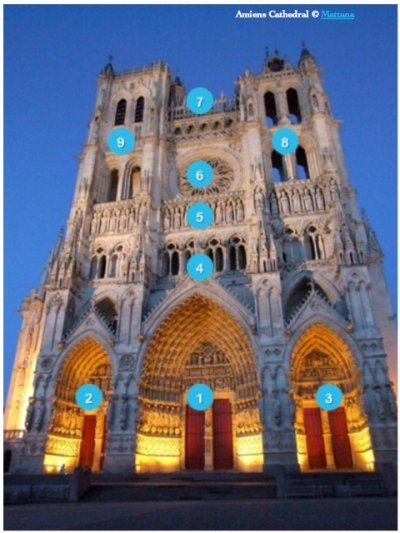 Façade of Amiens Cathedral © Mattana, wikipedia commons