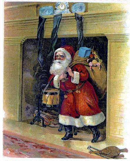 Santa comes down by the fireplace © French Moments