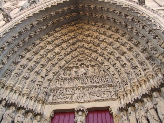 The Central Portal of Amiens Cathedral by Mattana, Wikipedia Commons
