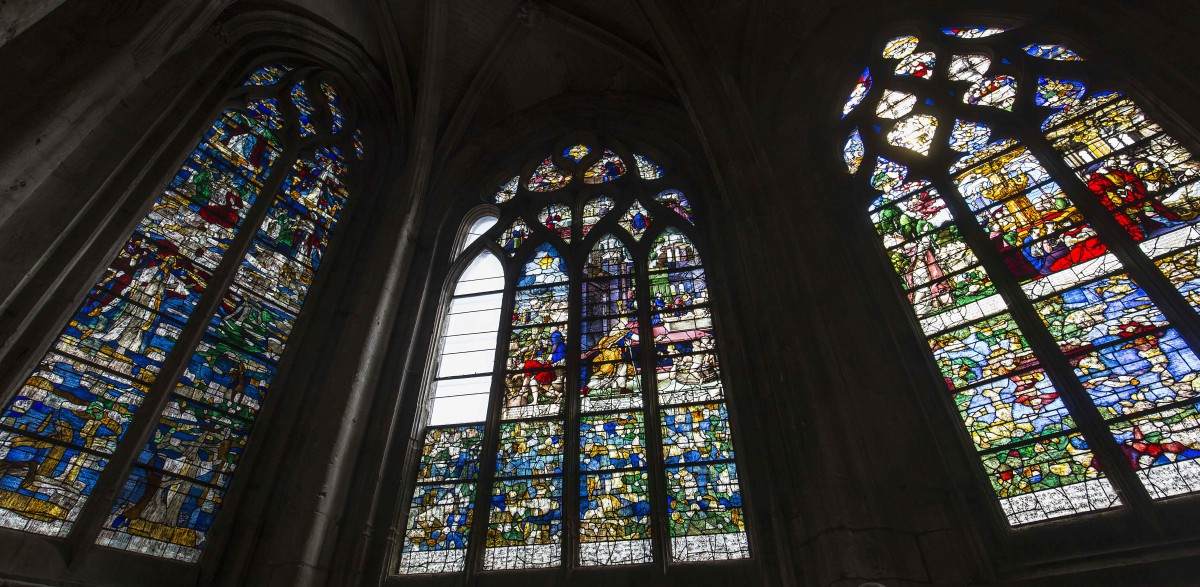 Stained-glass windows inside St Etienne Church, Beauvais - Stock Photos from Isogood_patrick - Shutterstock