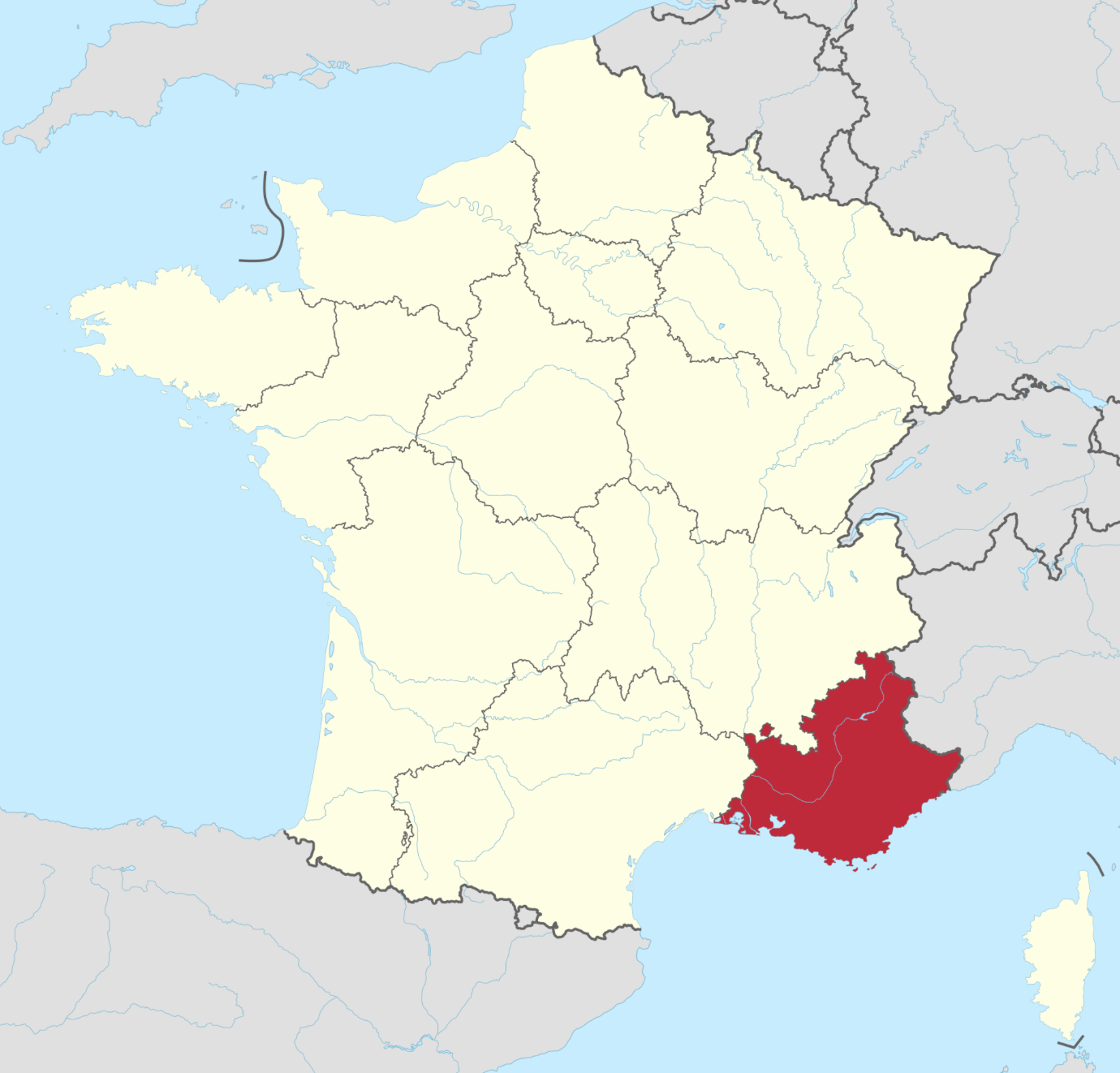 Map of Provence-Alpes-Côte d'Azur © TUBS - licence [CC BY-SA 3.0 de] from Wikimedia Commons