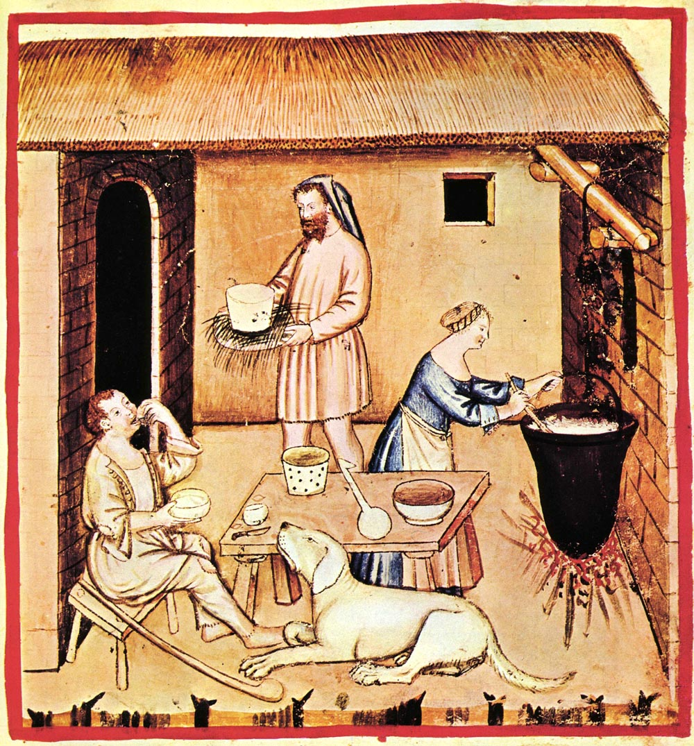 Cheese making in the Middle Ages (14th c)
