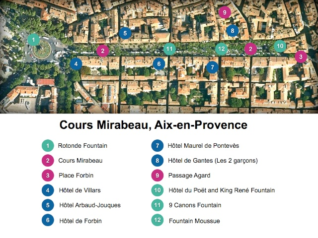 Map of Cours Mirabeau, Aix-en-Provence by French Moments