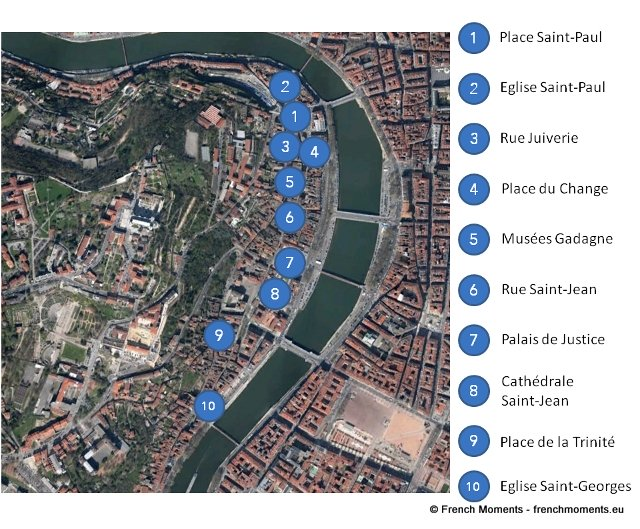 Lyon Old Town Map © Google, French Moments