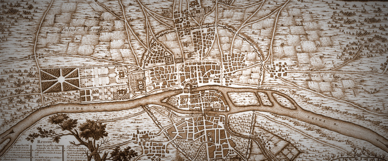 Map of Paris in 1223