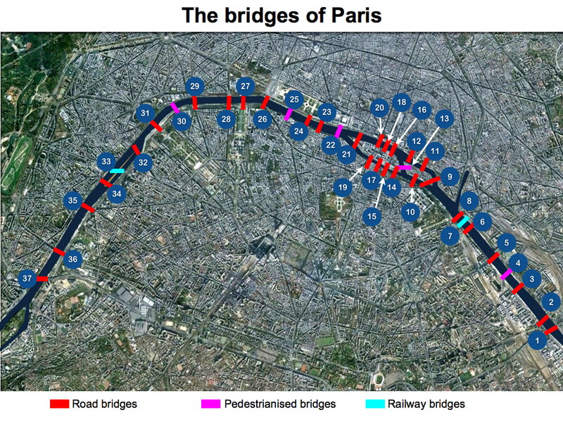 Seine in Paris Bridges Map