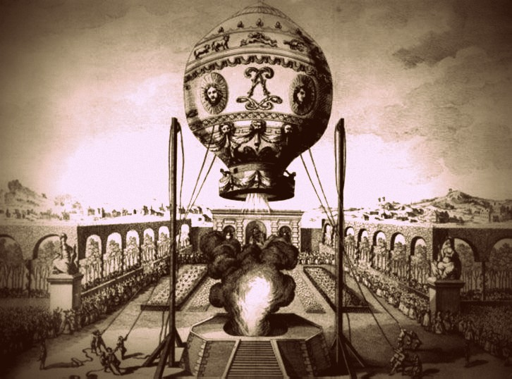 First hot-air balloon journey in October 1793 in Paris