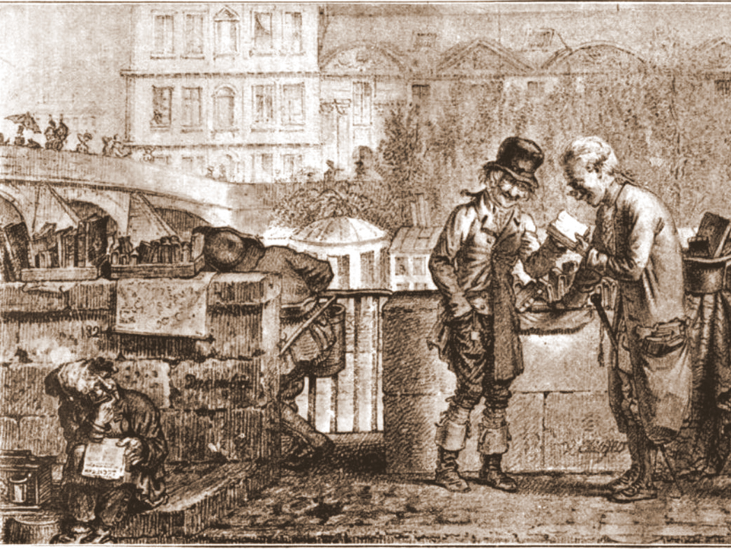 Secondhand Bookseller on the Quai Voltaire in Paris in 1821