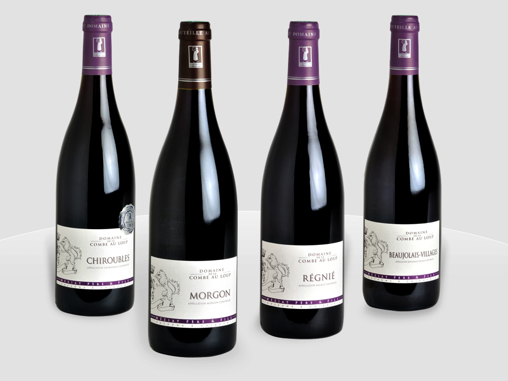 Beaujolais wines: chiroubles, morgon, régnié, and beaujolais-villages © Meziatcom - licence [CC BY-SA 3.0] from Wikimedia Commons