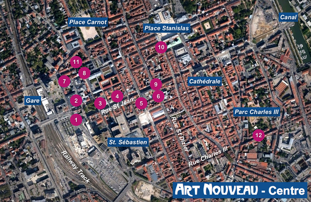 nancy art nouveau centre map french moments. Black Bedroom Furniture Sets. Home Design Ideas