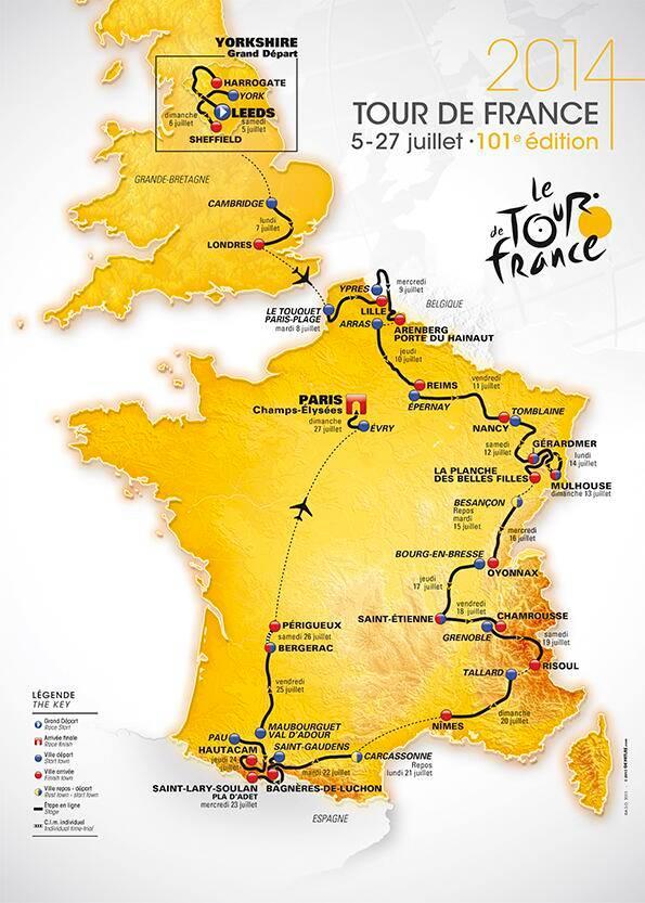 Tour de France 2014 Itinerary