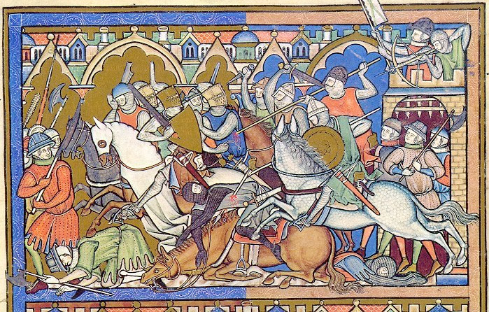 Warriors in the Albigean crusade, illumination mid-XIII cent. © Bible de Maciéjowsky