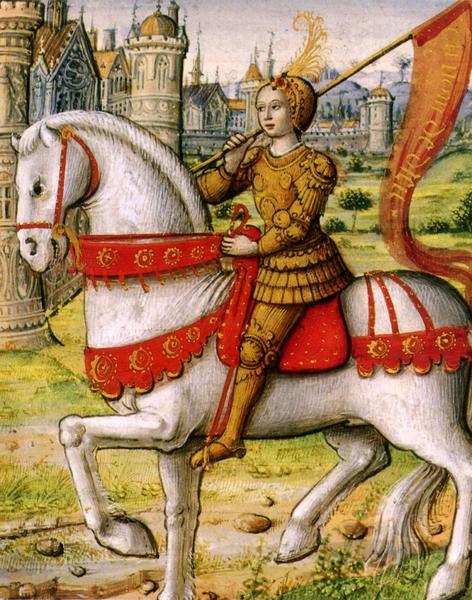 Joan of Arc on horseback, manuscript from 1505