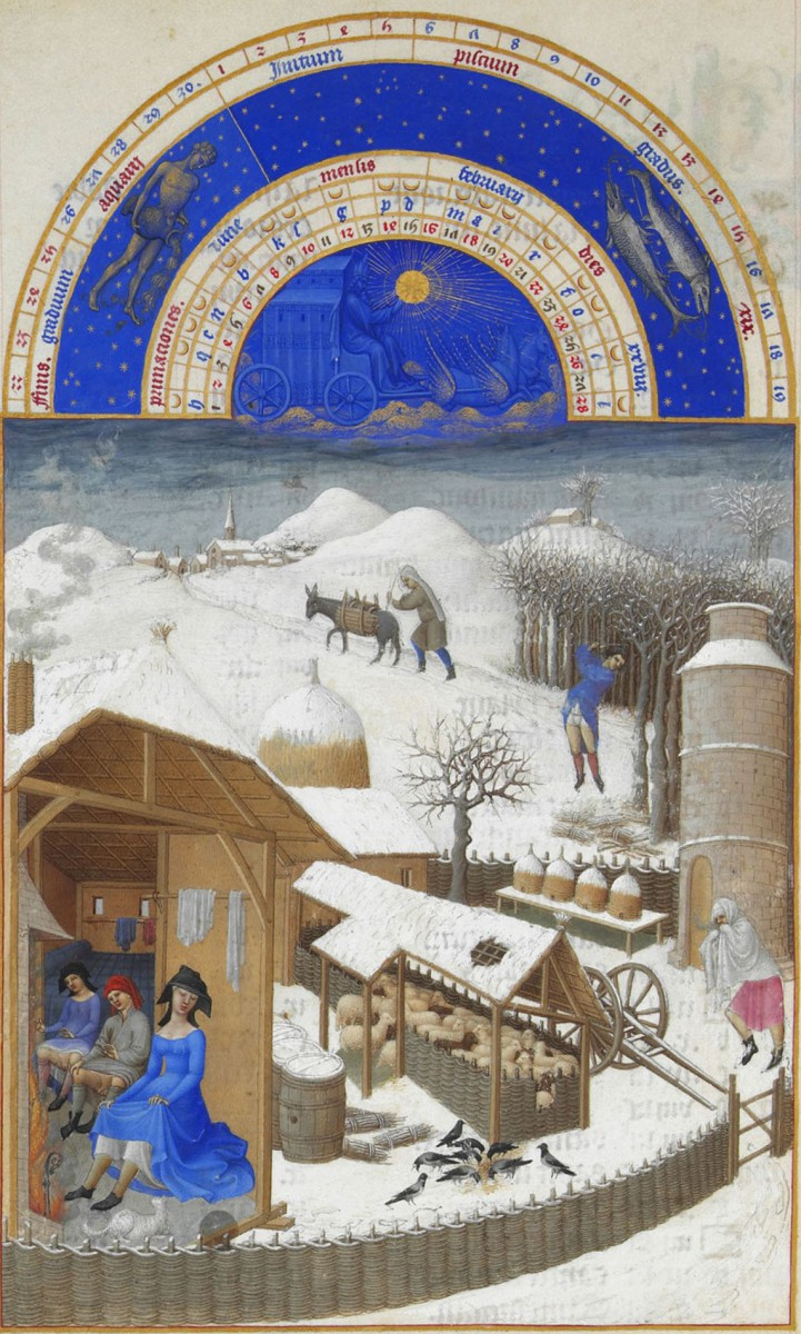 February from the calendar of Les Très Riches Heures du duc de Berry, 1412–1416