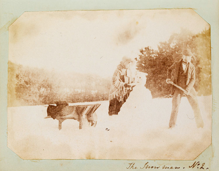 The earliest known photograph of a snowman, c.1853